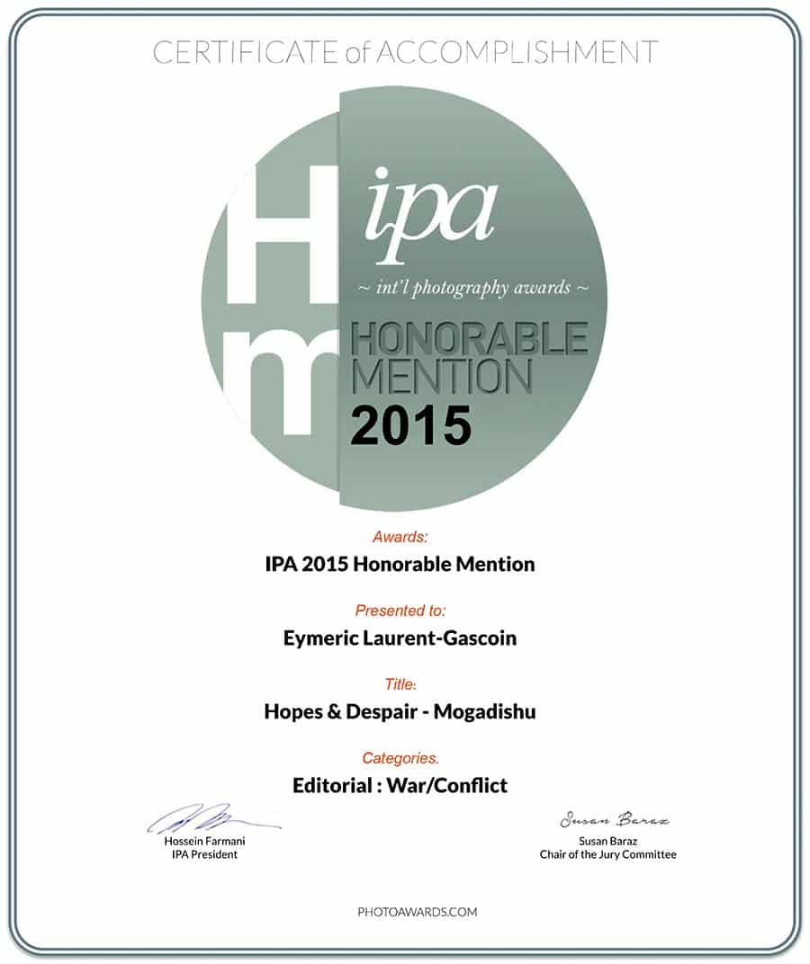 Honorable mention IPA 2015 for Hopes & despair