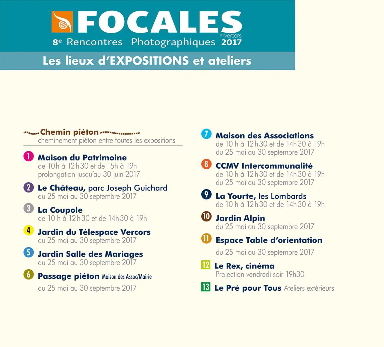 Photo festival Focales en Vercors, practical information: Layout details